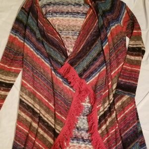 New Directions Colorful Fringed Sweater XL